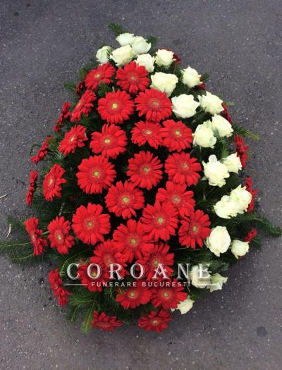 coroana funerara gerbera trandafiri