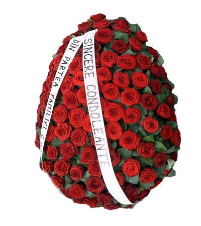 coroana funerara trandafiri rosii