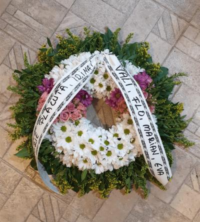 coroana crizantema 2 culori 40 cm