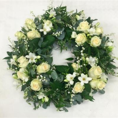 coroana funerara alba verde