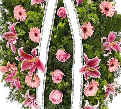 coroana funerara crin gerbera si trandafir 2